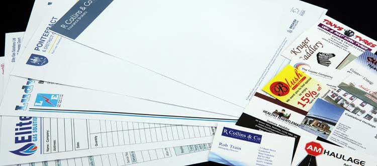 Business cards, letterheads, invoices etc.