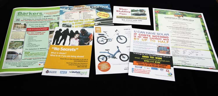Leaflets, flyers, menus, etc.